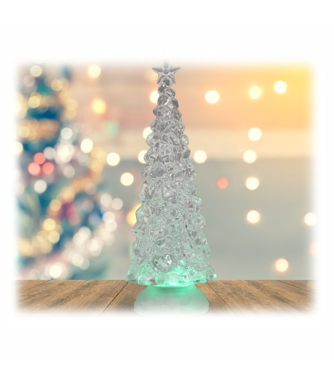 """HOLIDAY LED COLOUR CHANGING GLITTER TREE WHITE 4X12"""" (MP8)"""