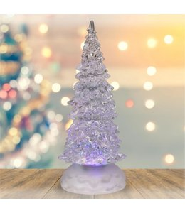"HOLIDAY LED COLOUR CHANGING GLITTER TREE WHITE 8.5"" (MP12)"