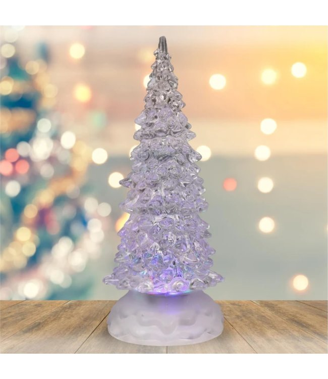 """HOLIDAY LED COLOUR CHANGING GLITTER TREE WHITE 8.5"""" (MP12)"""