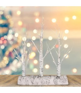 "HOLIDAY LED BIRCH TREE LOG WHITE 12.5X17"" (MP6)"