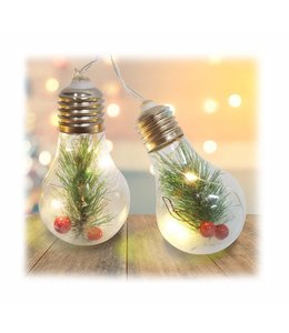 "HOLIDAY 10pc LED LIGHT BULB w/PINE NEEDLES STRING LIGHTS 53"" LONG (MP12)"