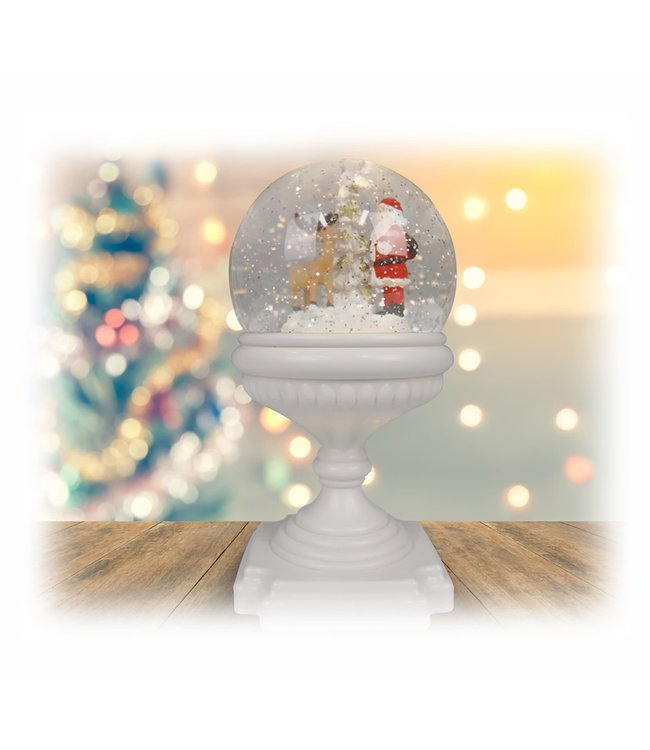 "HOLIDAY SANTA REINDEER GLOBE WHITE 4.3X9.25"" (MP6)"