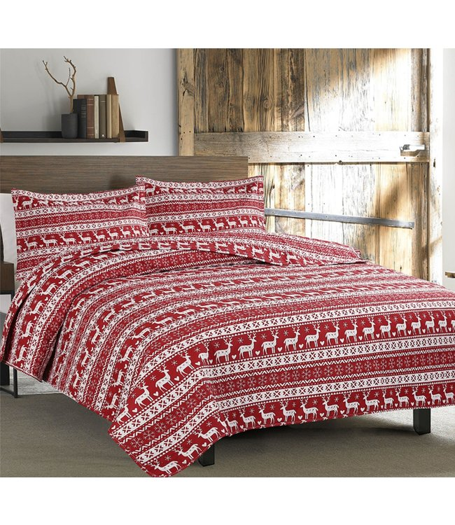 RUSTIC CABIN RUDOLPH QUILT SET RED/WHITE (MP2)
