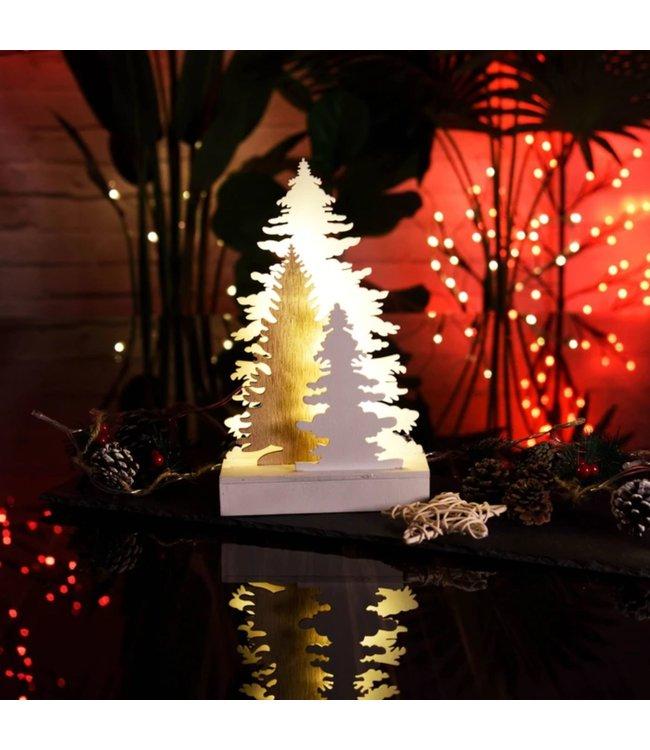 WOODEN CHRISTMAS TREE w/LED LIGHT (MP8)