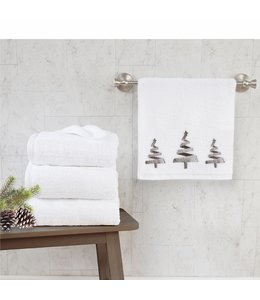 """LAUREN TAYLOR 2PK EMBROIDERED CHRISTMAS GUEST TOWELS 16X20"""" (MP12)"""