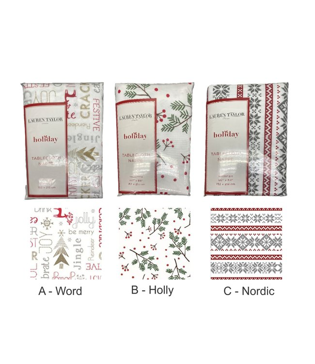 "STUDIO 707 CHRISTMAS PRINTED VINYL TABLECLOTH AST 52X70"" OBLG (MP12)"