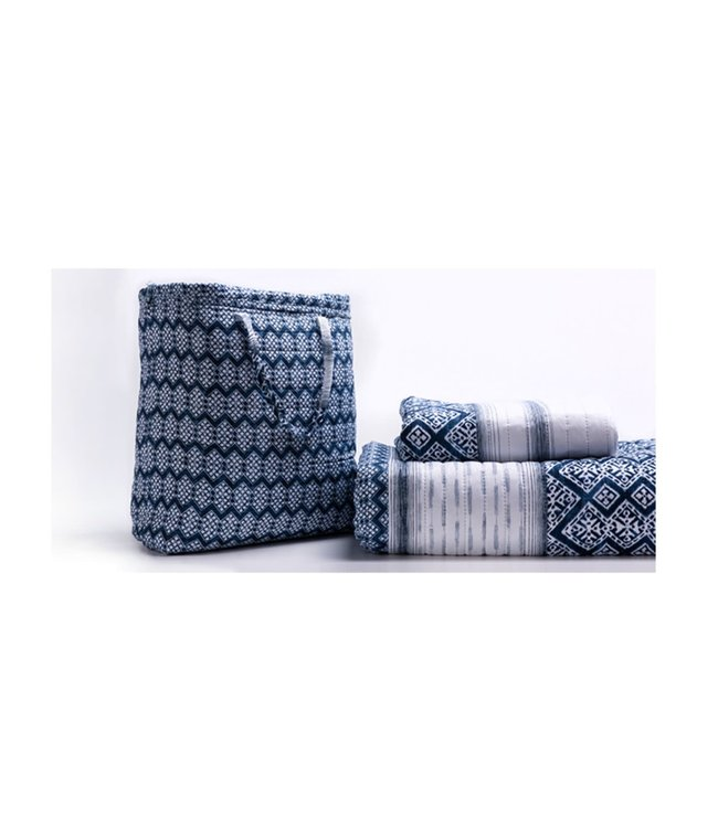 LAUREN TAYLOR BELIZE QUILT SET IN TOTE BAG (MP2) BLUE
