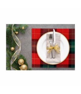 "2PK GOLD LUREX PLAID PLACEMATS 13X19"" (MP6)"