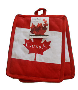 """PAIR OF CANADA FLAG POT HOLDERS (MP72) WHITE/RED 7X9"""""""