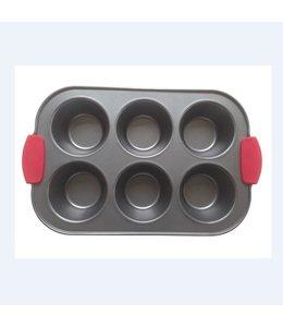 A LA CUISINE NON STICK 6 CUP MUFFIN PAN w/SILICONE HANDLES (MP12)