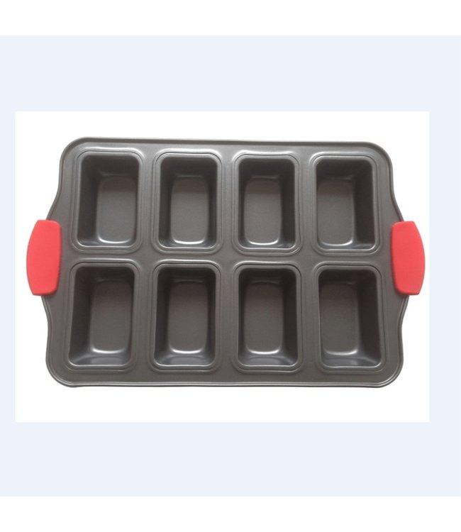 A LA CUISINE NON STICK 8 CUP MUFFIN PAN w/SILICONE HANDLES (MP12)