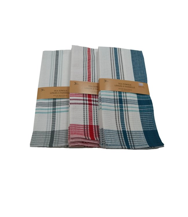 """3PK TEA TOWEL BLUE or GREY or RED 22X32"""" (MP48)"""