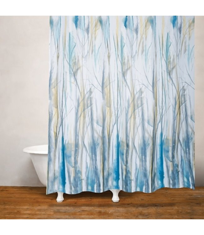 WINDSWEPT FABRIC SHOWER CURTAIN BLUE/GREEN/WHITE