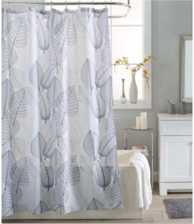 GREY LEAVES FABRIC SHOWER CURTAIN WHITE/GREY
