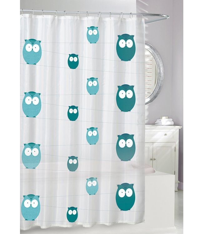 BRIGHT EYES EVA SHOWER CURTAIN TEAL GREY ON FROST