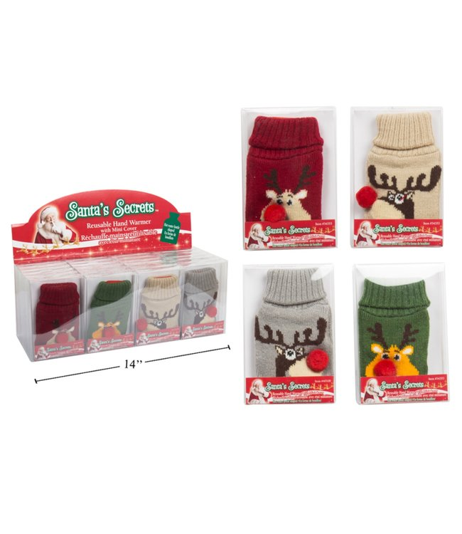 BOTTLE SHAPED HAND WARMER w/KNITTED REINDEER COVER