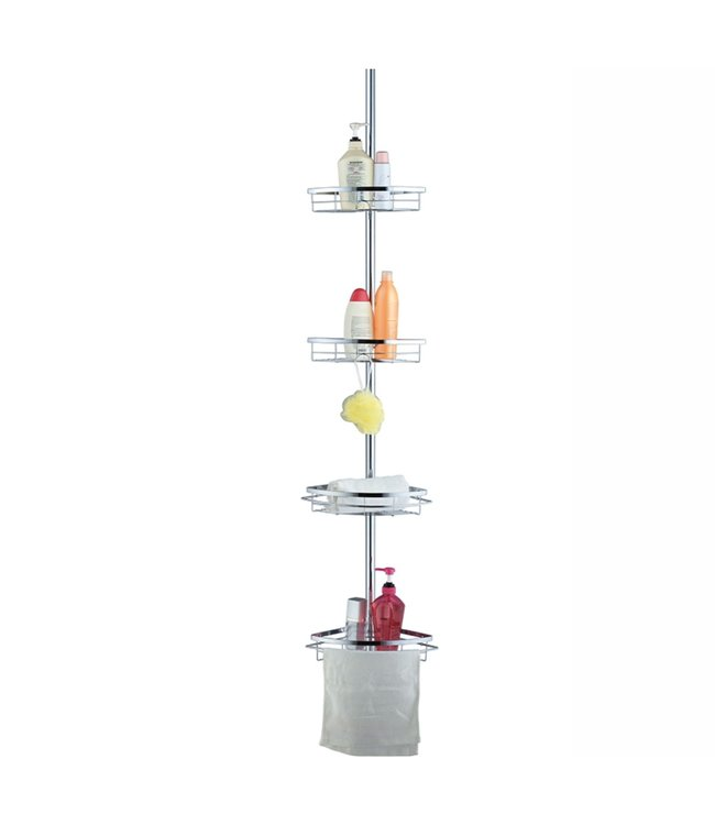 """TENSION POLE SHOWER CADDY 4 TIER 9x9x57 - 96"""""""
