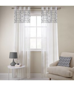 "LAUREN TAYLOR *ALISON EMBROIDERED FAUX LINEN VOILE GROMMET PANELS 54X84"" (MP12)"