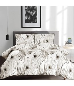 LAUREN TAYLOR *PALM TREE COTTON 3PC DUVET COVER SET BLACK/WHITE (MP4)