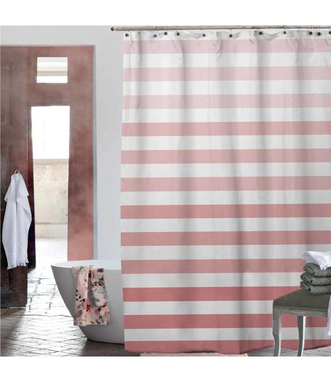 *CHIARA OMBRE STRIPE SHOWER CURTAIN CORAL 70X72 (MP24)