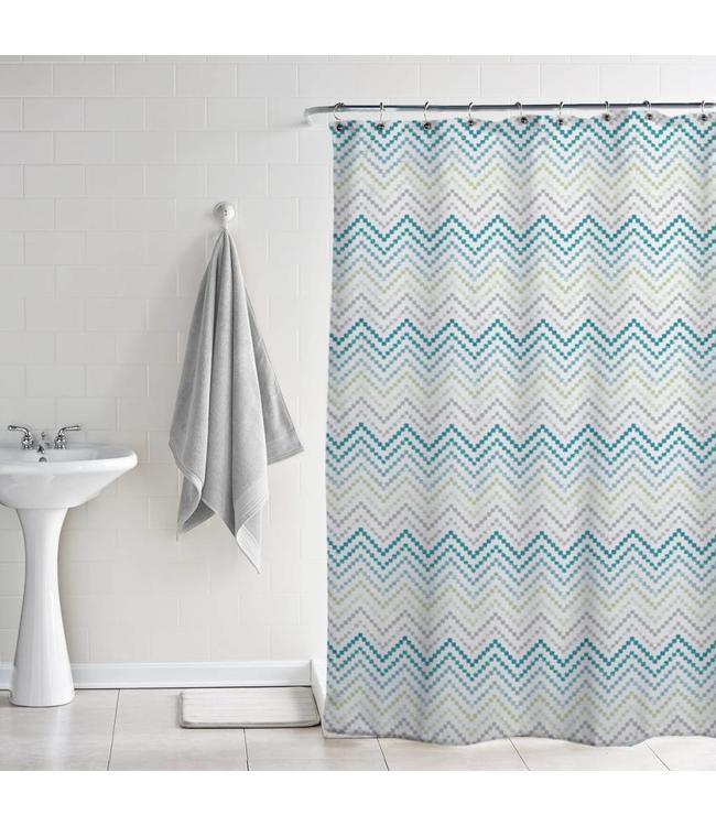 *BLOOM PRINTED PEVA SHOWER CURTAIN CHEVRON MULTI