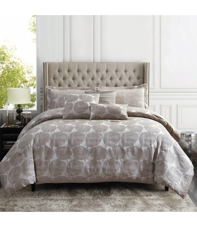LAUREN TAYLOR *DEVIN JACQUARD 6PC COMFORTER SET GREY