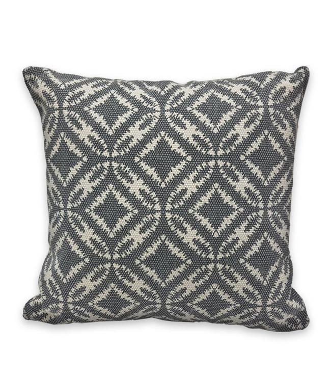 "ADRIEN LEWIS KAMAR STONEWASH BATIK COTTON GREY CUSHION 18X18"" (MP6)"