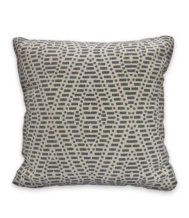 "ADRIEN LEWIS JANNA STONEWASH BATIK COTTON GREY CUSHION 18X18"" (MP6)"