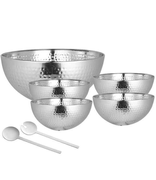 A LA CUISINE *A LA CUISINE 7PC SALAD SERVING SET HAMMERED DESIGN STAINLESS STEEL (MP8)