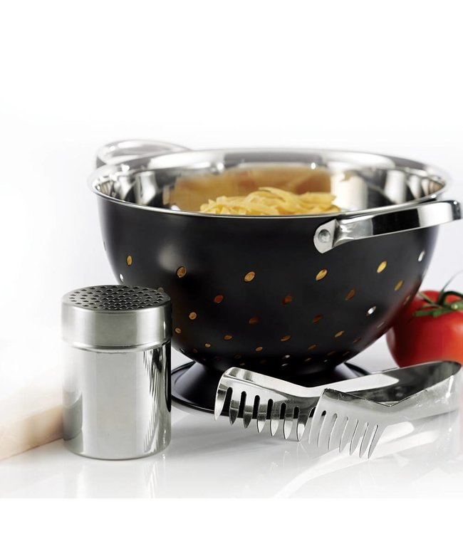A LA CUISINE *A LA CUISINE 3PC PASTA SERVING SET HAMMERED DESIGN STAINLESS STEEL (MP8)