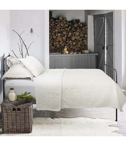 *EMBROIDERED FAUX FUR 3PC COVERLET SET IVORY (MP3)