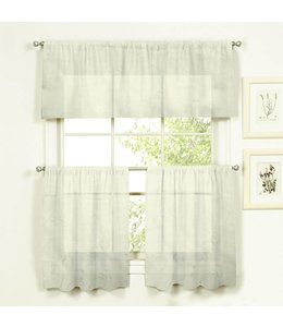 LAUREN TAYLOR *IVY 3PC EMBROIDERED KITCHEN CURTAINS (MP12) WHITE