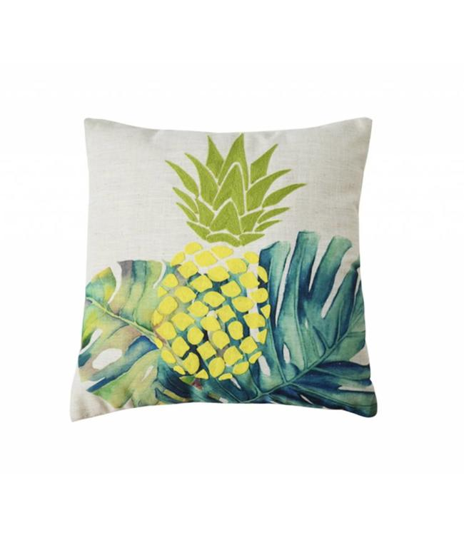 "ADRIEN LEWIS TROPICAL PINEAPPLE FAUX LINEN POLY/COTTON CUSHION 18X18"" (MP6)"