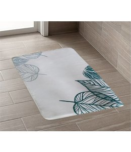 *TROPICS PRINTED MEMORY FOAM BATH MAT GREEN (MP12)