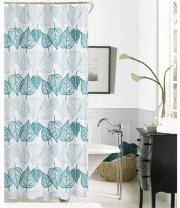 TROPICS JACQUARD FABRIC SHOWER CURTAIN GREEN (MP12)