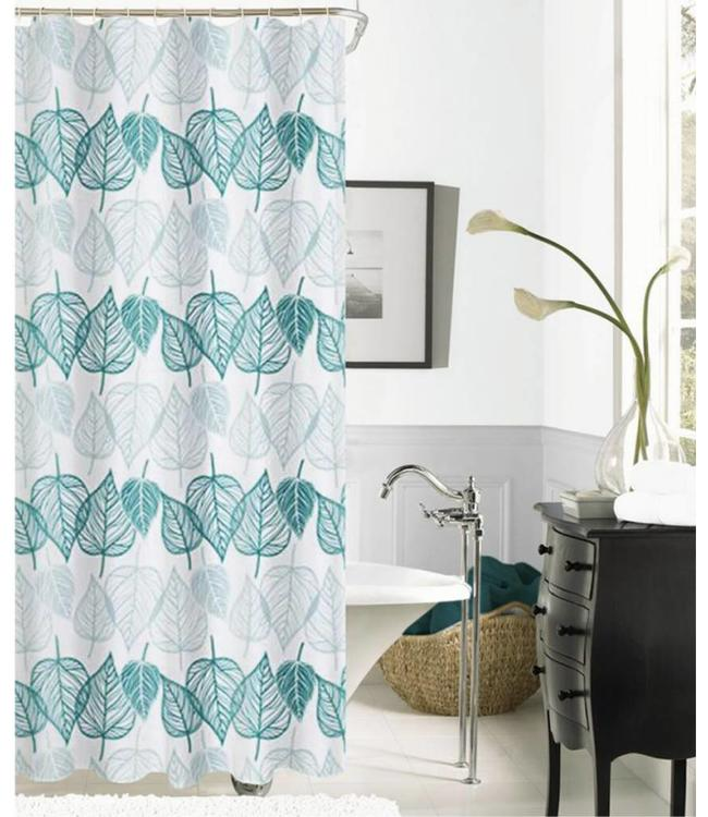 TROPICS JACQUARD FABRIC SHOWER CURTAIN GREEN MP12
