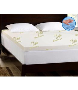 MAISON BLANCHE BAMBOO COVER GEL MEMORY FOAM MATTRESS TOPPERWHITE/GREEN (MP2)