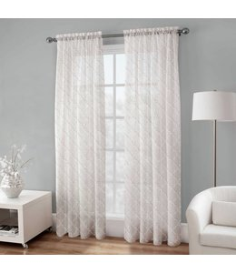 LAUREN TAYLOR *BRITTA EMBROIDERED VOILE WINDOW PANEL WHITE (MP12)
