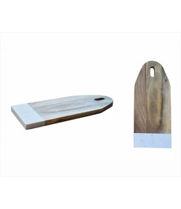 A LA CUISINE *ACACIA & WHITE MARBLE CUTTING BOARD (MP12)