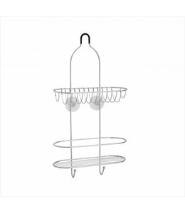 SANDRA VENDETTI 2 TIER CHROME PLATED SHOWER CADDY WITH SUCTION CUPS (MP12)