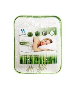 W HOME BAMBOO PILLOW PROTECTOR WHITE/GREEN (MP12)