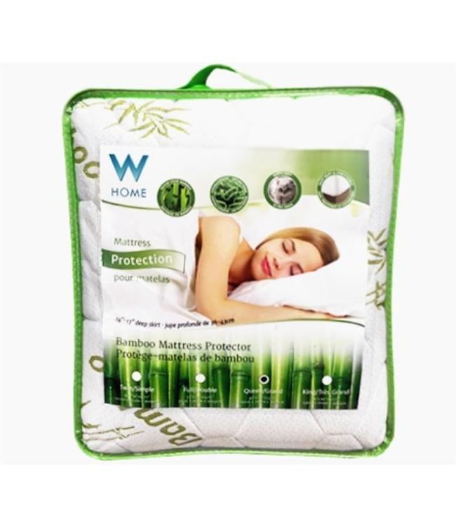 W HOME BAMBOO MATTRESS PAD WHITE/GREEN (MP6)