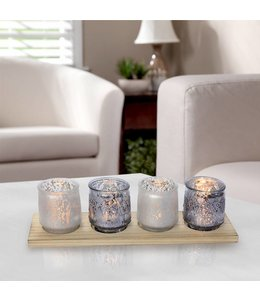 LAUREN TAYLOR 5pc PAINTED GLASS CANDLE SET w/WOOD BASE (MP6)