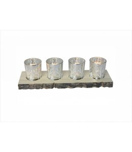 LAUREN TAYLOR BRANCH 5pc PAINTED GLASS CANDLE SET w/WOOD BASE (MP6)