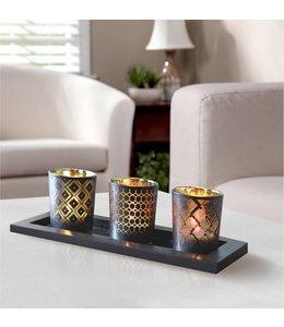 LAUREN TAYLOR 4pc BLACK GEO CANDLE SET (MP6)