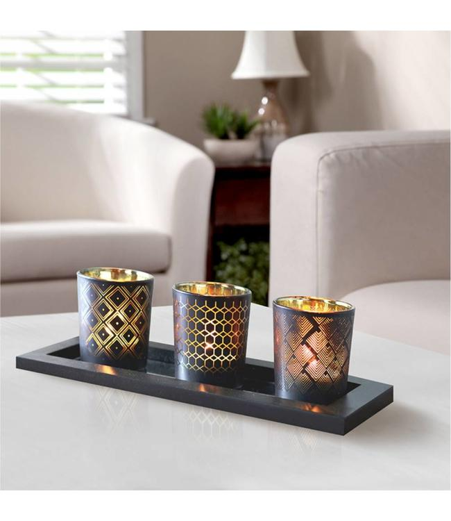 LAUREN TAYLOR *4pc BLACK GEO CANDLE SET (MP6)
