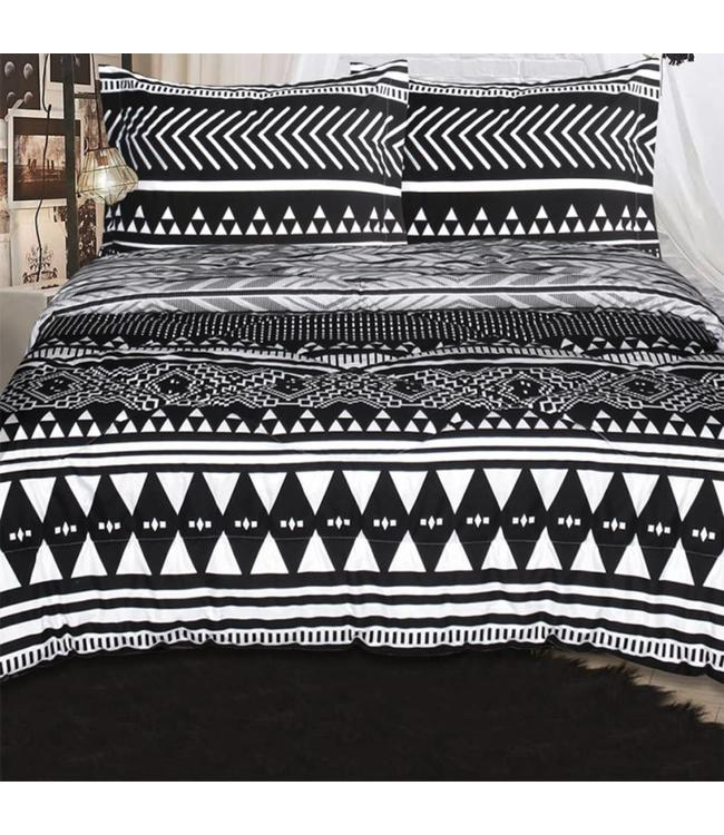 LAUREN TAYLOR *TRIBAL/AMAL REVERSIBLE COMFORTER SET WHITE/BLACK (MP3)
