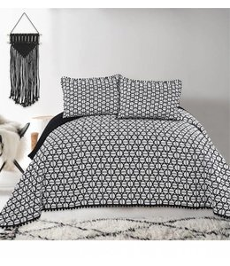 LAUREN TAYLOR MAISSA/DOT COLLECTION QUILT SET BLACK/WHITE (MP6)