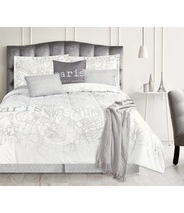 LAUREN TAYLOR PARIS MAP 7PC COMFORTER SET WHITE (MP3)