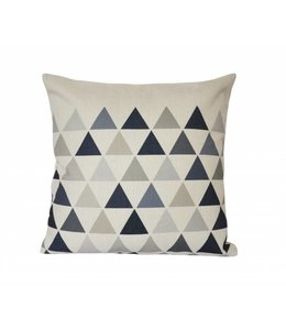 LAUREN TAYLOR FAUX LINEN FEATHER FILLED PYRAMID BLACK/LINEN CUSHION (MP6)